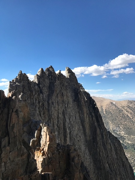 Looking back from the final notch at the second buttress tower traverse!!