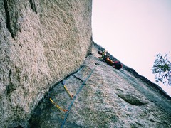 Rock Climbing Photo: Peter Fogg on the final pitch of Recompense. July ...