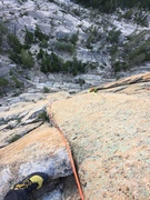 Rock Climbing Photo: Looking down P3, 10b. A short but fun pitch!