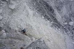 Rock Climbing Photo: 4th class descent on the moraine. Look for a large...