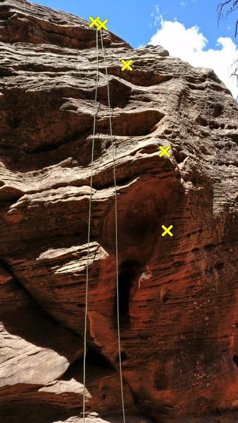 Rock Climbing Photo: Topo of route going through the large hueco.