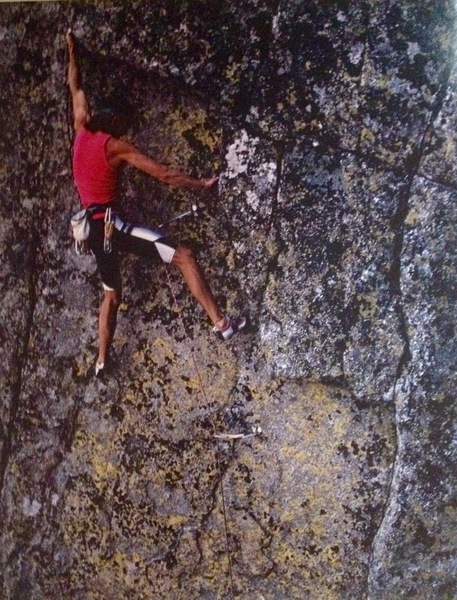 Don Welsh on the second ascent of Scott Frye's Cannibals circa 1988 check out the Dolomite shoes