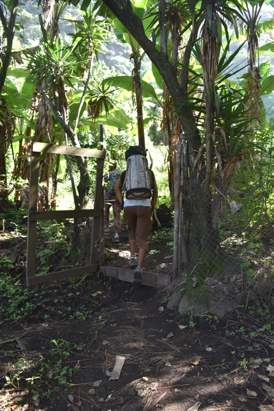 8. Walking out of Julios property and into the path that leads to the crag