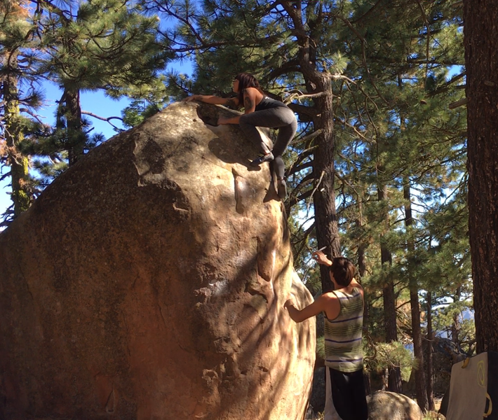 Cass F. topping out on Dirt Bag.