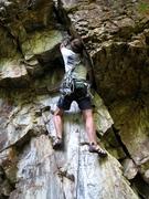 Rock Climbing Photo: Jeff Baldwin launching into the start of Lycra Eat...