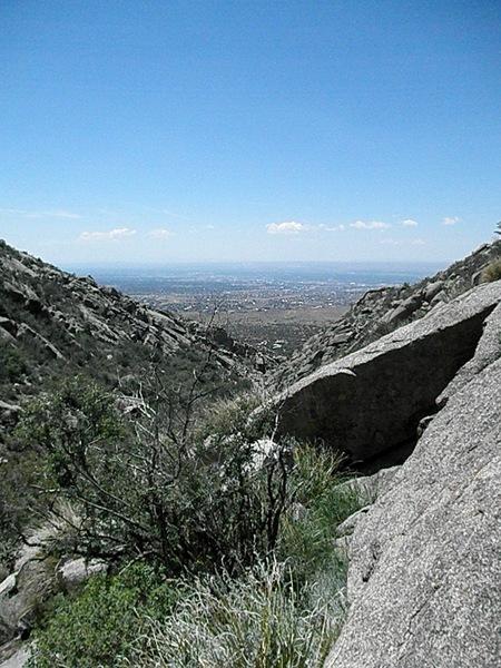 Lower La Cueva Canyon looking west.