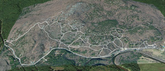 A Google Earth view of Rumney with trails mapped using GPS. Updated for 2017. <br /> <br />The thicker lines are the major trails. The thin lines are the minor trails. The black lines are the individual crags.