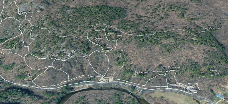 A Google Earth view of Rumney with eastern trails mapped using GPS. <br> <br> The thicker lines are the major trails. The thin lines are the minor trails. The black lines are the individual crags.