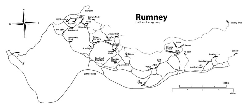 Overview of Rumney with trails mapped using GPS. Updated for 2017.