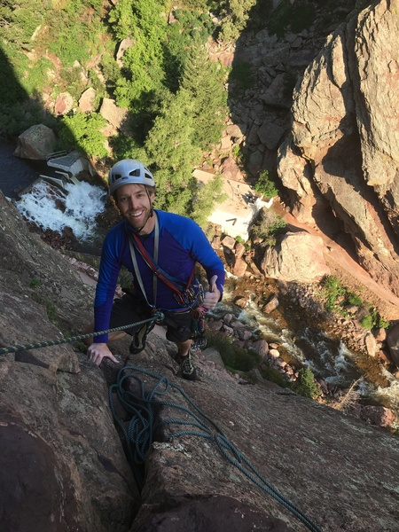 Near top of 1st/2nd pitch (the big ledge). Great to be back climbing after almost a 20 year hiatus!