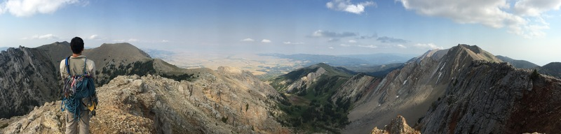 The beautiful Frazier Basin seen from the Bridger ridge line.