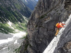 Rock Climbing Photo: P5 traverse under roof