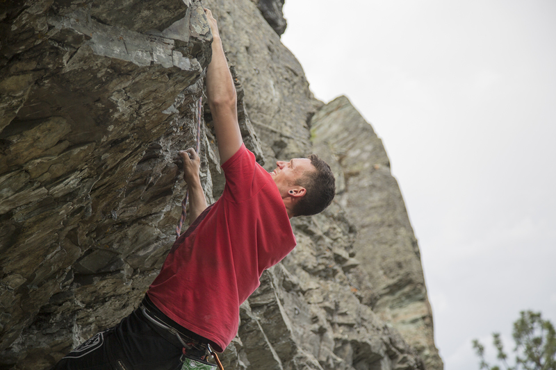 Ross tackling the 5.10 overhang at the start of the route