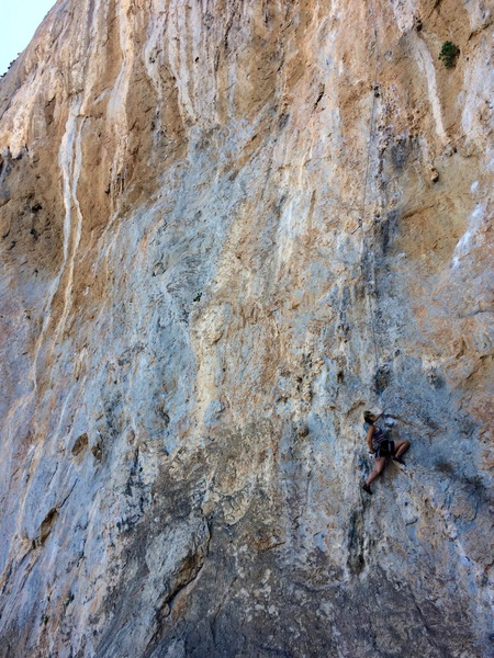 Elizabeth on the lower section of Kaly-Nikhla, with a lot of climbing left for the full extension.  Long slings and skipping bolts on the lower half will help!