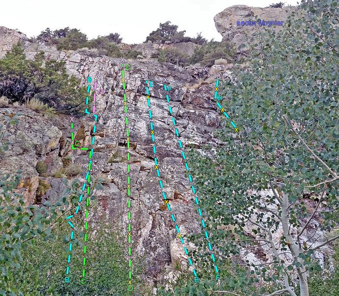 Lewis sector 7 : Trail Slab<br> B. Left Corner<br> . v3 variation<br> C. Short Squeeze<br> D. Salamander<br> F. Face Right<br> H. Right Corner<br> X purple = two-bolt anchor<br> x purple = directional bolt<br> x yellow = bolted route