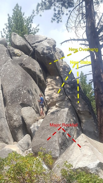 Major rockfall over the winter with significant changes to 4 routes: Ballbuster Chimney, 4 Crack, The Arete, Easy Corner.  Fun to climb the newly exposed rock.  The two big boulders in the foreground used to by on the newly exposed ramps.