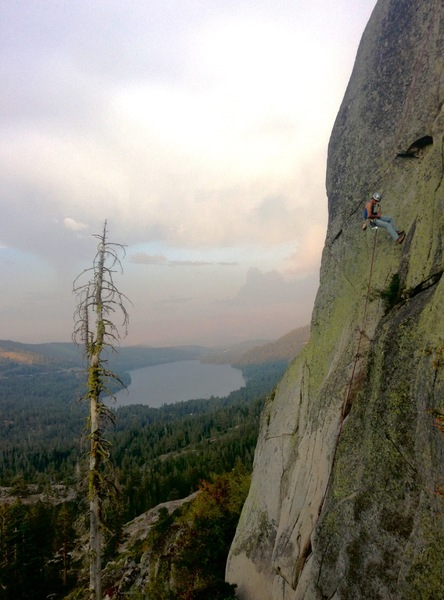 Rapping off telegraph crack at sunset. A fun, varied climb with good pro for a fledgling 5.8 leader