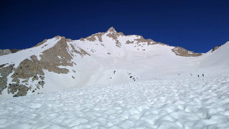 View of the whole ridge line in an early summer (after a record snowfall winter) ascent
