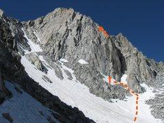 Rock Climbing Photo: Jonny B. Goode follows the orange line in the phot...