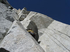 Rock Climbing Photo: Looking up P1 of Jonny B. Goode.