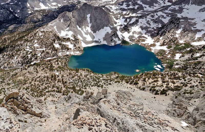 south down to Ruby Lake from the South end of summit ridge of Mt Starr