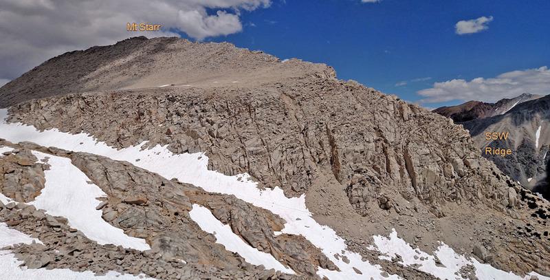 Rock Climbing Photo: Mt Starr summit ridge + route SSW Ridge (seem from...