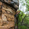 Climber Michael Mosure, Kristi Cooke on belay.