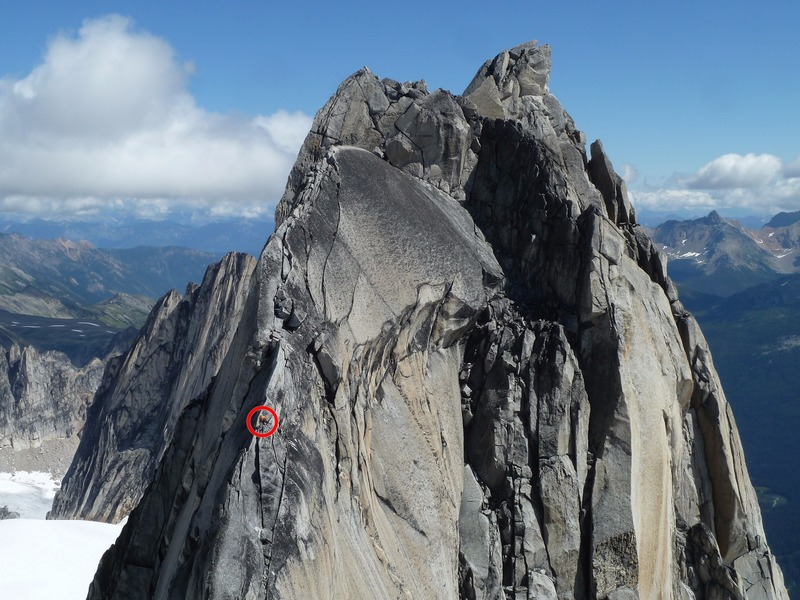 Climber on the west ridge of Pigeon Spire