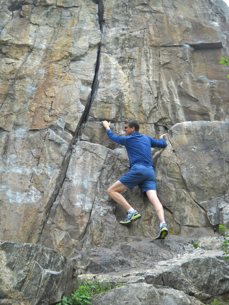 Rock Climbing Photo: Norm C. warming up at the base - 2014. When Ray Pa...