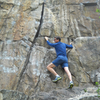 """Norm C. warming up at the base - 2014. When Ray Palmer showed me this climb in 1968, he wasn't aware of anyone who had climbed it, so I led it. The following summer, Phil Gleason free soloed it at least 5 consecutive times in about 15 minutes, """"training for the long cracks of Yosemite""""."""