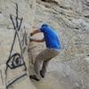 Steve climbing Open Book (V0)