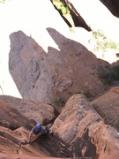 Rock Climbing Photo: Ed on the final section during the first ascent