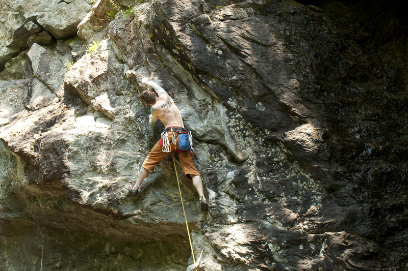 The red point crux right below the chains. photo by torie kidd