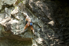 Rock Climbing Photo: The red point crux right below the chains. photo b...