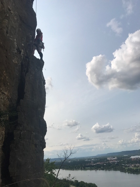 Rock Climbing Photo: Edub on top of the pillar ready for the crux secti...