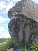 The steep section of the boulder