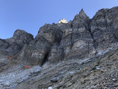 Rock Climbing Photo: For the start go past the black chimney and around...
