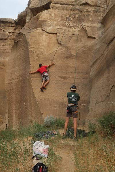 Rock Climbing Photo: Jonas Abdo making a precarious balancing move on '...