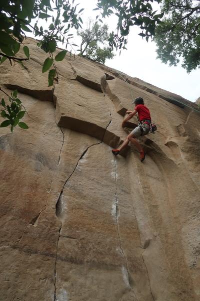 Rock Climbing Photo: Jonas Abdo climbing Propeller. Nuclear Sunset is t...