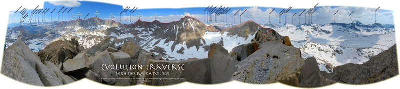 Labeled panorama of Evolution Traverse, as seen from summit of Huxley after completing the traverse, July 2017. (more labels than other version, thanks to Paul Decker who had fun ID'ing them all)