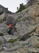 Rock Climbing Photo: Leading the crux (steeper than it looks)