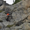 Leading the crux (steeper than it looks)