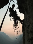 Rock Climbing Photo: Andrew at the top of pitch 5 ashamed of his rope s...