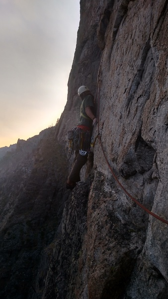 The traverse start on pitch 4 (mostly bolted)