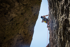 Rock Climbing Photo: mystery hole route as viewed from a little shaded ...
