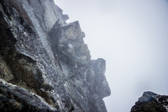 Rock Climbing Photo: Snowing on the route