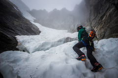 Rock Climbing Photo: Going up the snow couloir to the start of west rid...
