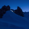 The gendarmes of Casaval Ridge at an early morning alpine start