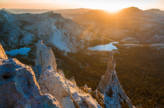 Rock Climbing Photo: Cathedral Peak after summiting at sunset - with tw...