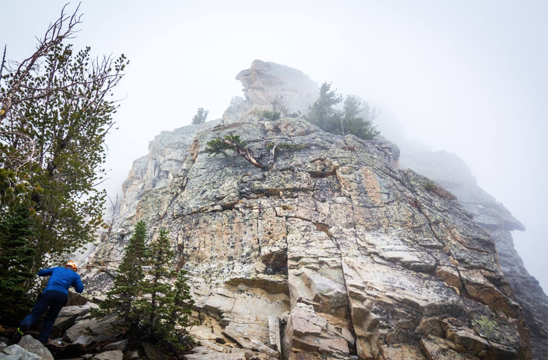 Looking up at Disappointment Peak in the fog